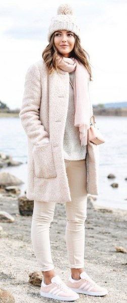 super light pink fuzzy coat with matching knit scarf and knit hat