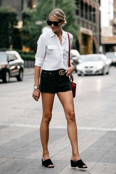 white button up shirt with black belted jean shorts