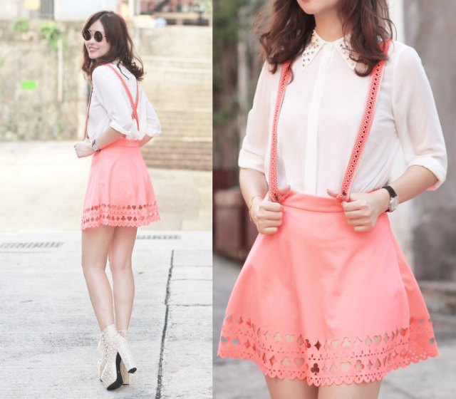 white button up shirt with blush pink suspender mini skater skirt