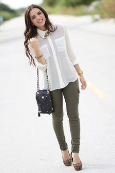 white chiffon blouse and army green skinny pants and leopard print heels