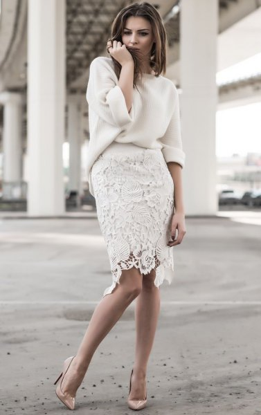 white chunky sweater with lace knee length skirt