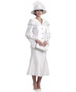 white church skirt suit with hat and clutch bag
