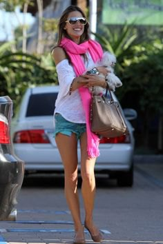 white cold shoulder tee with pale pink scarf with denim mini shorts