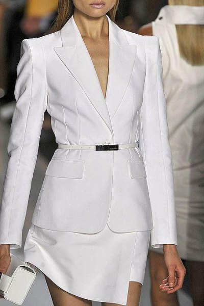 white dress suit with clutch bag and open toe heels