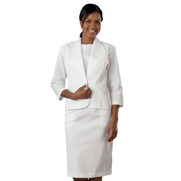 white dress suit with white crew neck t shirt