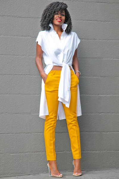 white high low blouse with mustard yellow pants