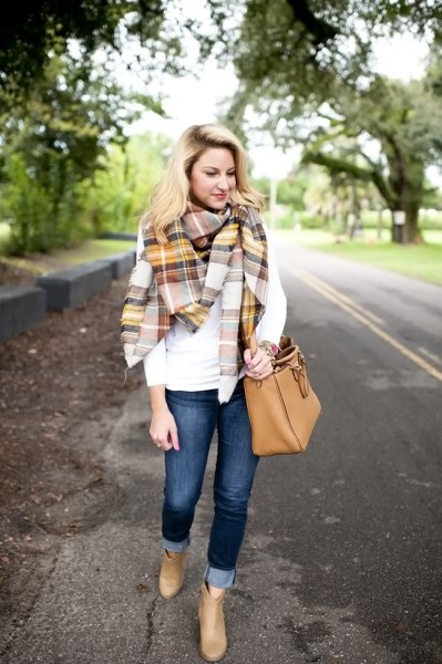white long sleeve tee with gold and grey plaid blanket scarf