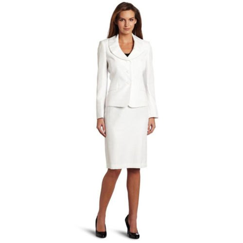 white round collar blazer with skirt and black leather rounded toe heels
