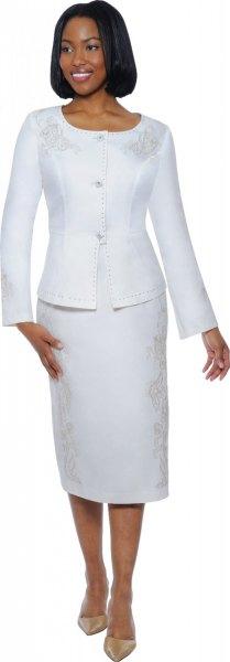 white slim fit blazer with matching midi straight cut skirt