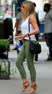 white tank top with army green cuffed pants and wedge sandals