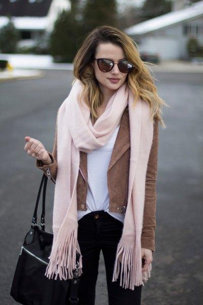 white wool fringe scarf and camel suede blazer jacket