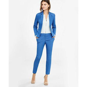 white zipper blouse with blue suit jacket and ankle pants