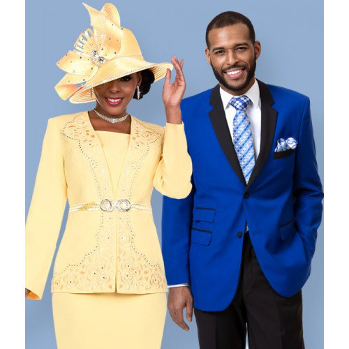 yellow belted blazer jacket with midi skirt and church hat