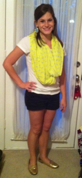 yellow printed summer scarf with white tee and black mini shorts