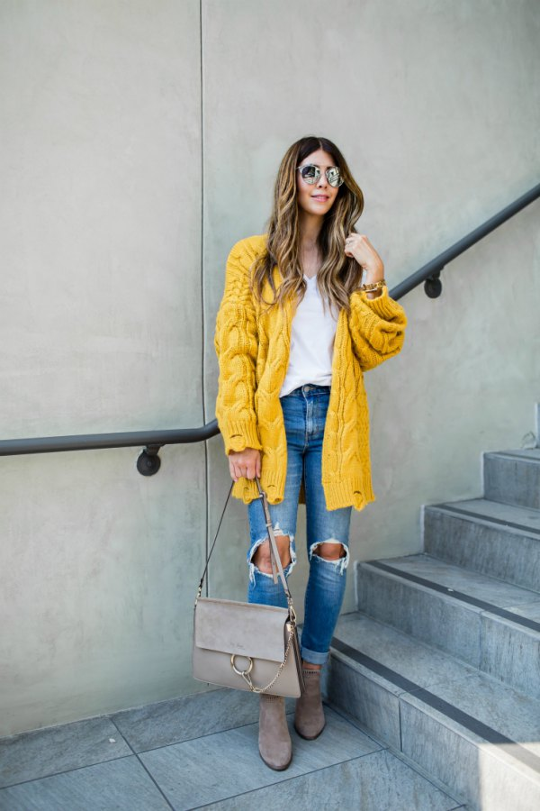 b83bcc46ed8d How to Wear Yellow Cardigan Sweater: Best 13 Cheerful Outfits for Women
