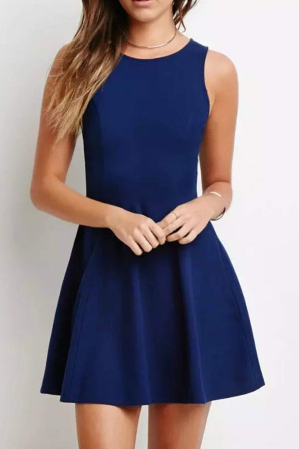 best navy blue short dress outfit ideas for women