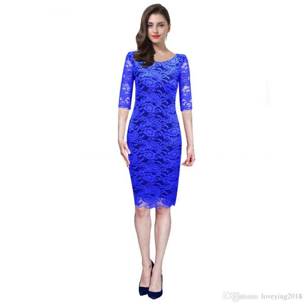 best royal blue lace dress outfit ideas for women