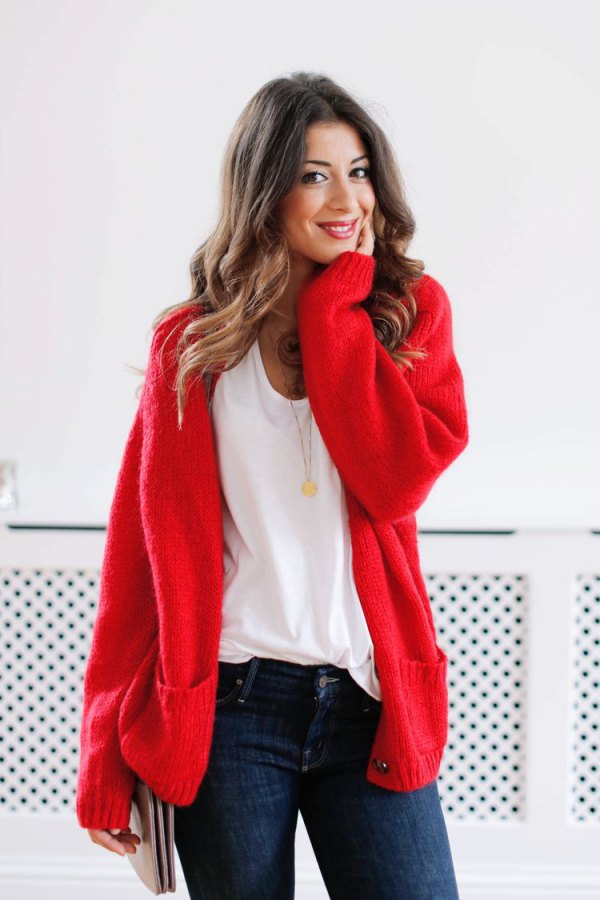 best red cardigan sweater outfit ideas for women