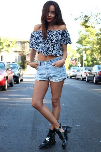 black and white leopard printed off the shoulder cropped blouse with loafers