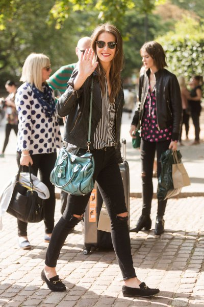 black and white striped shirt with leather jacket and loafers