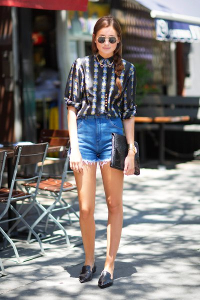black and white tribal printed blouse with high rise denim shorts