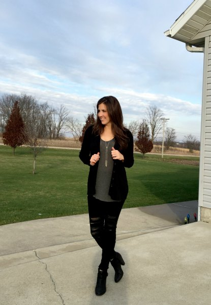 black cardigan with grey chiffon blouse and ripped jeans