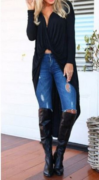 black maxi cardigan sweater with low cut crop top and over the knee boots