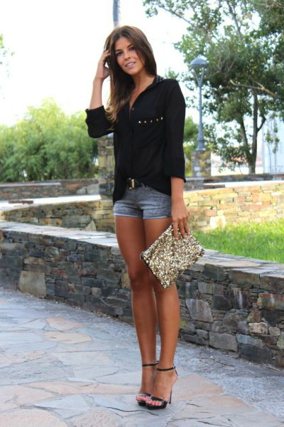 black relaxed fit chiffon button up shirt with sequin clutch bag