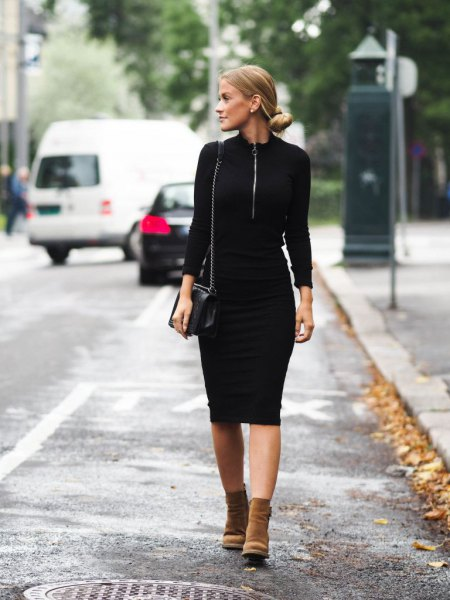 black sheath midi dress with brown suede ankle boots