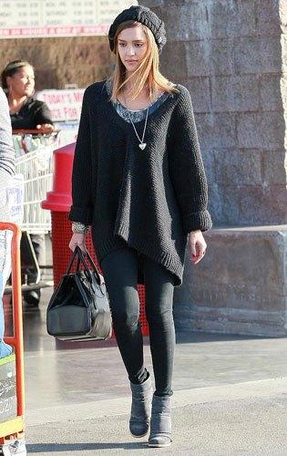 black sweater dress with grey u neck top