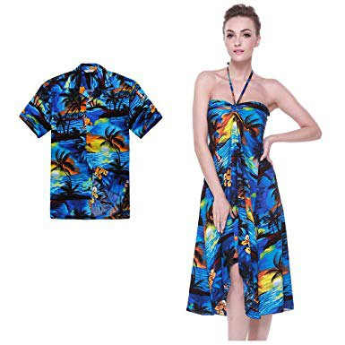 blue and yellow floral printed hawaiian style mini dress