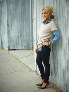 blue chambray shirt with white short sleeve sweater