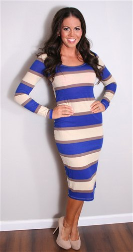 blue pink white striped bodycon midi dress with heels