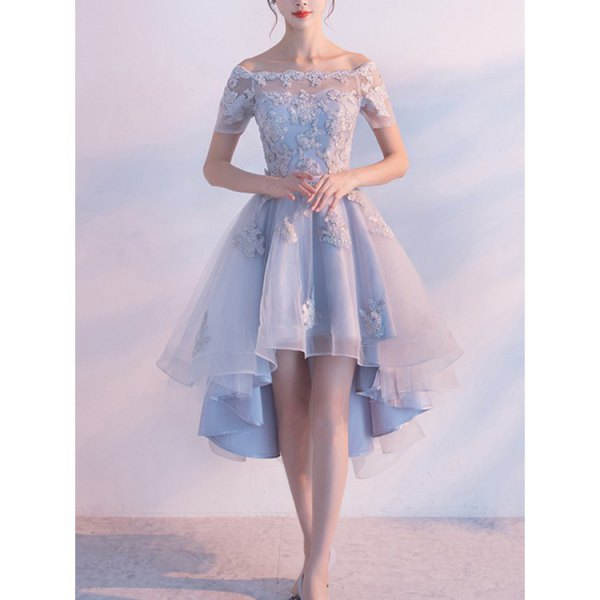 boat neck lace and chiffon high low sky blue dress
