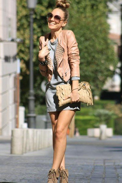 brown leather jacket with grey mini shift dress