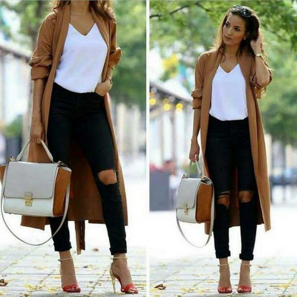 brown longline sweater cardigan with white v neck tee and skinny jeans