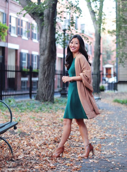 camel wool coat with grey fit and flare knee length dress