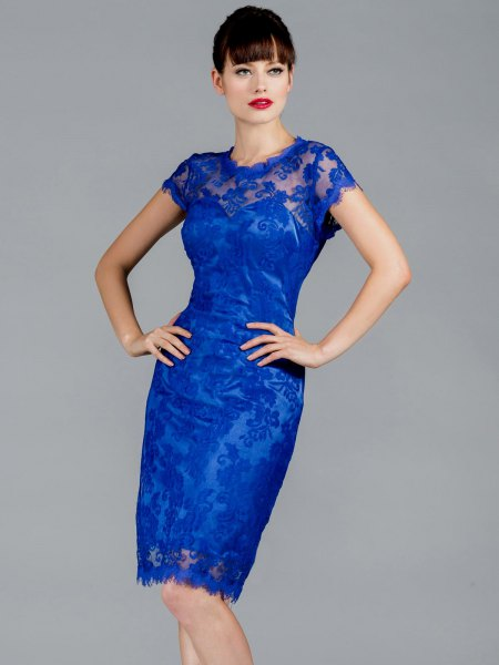 cap sleeve semi sheer bodycon midi royal blue dress