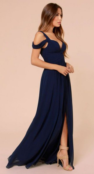 cold shoulder sweetheart navy blue gown with open toe pale pink heels