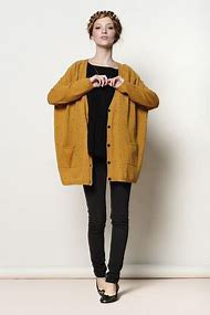 dark mustard yellow chunky cardigan sweater with black tee