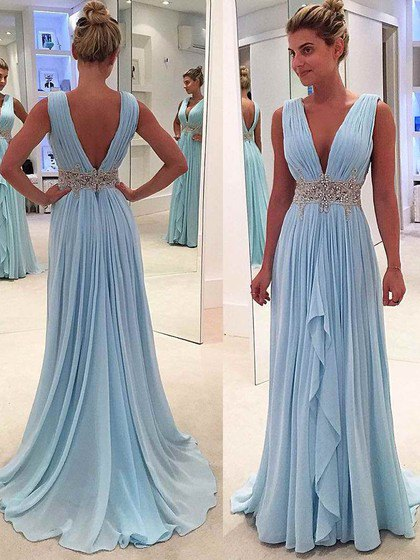 deep v neck aqua blue floor length flowy pleated dress