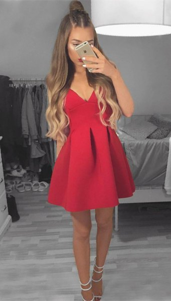 fit and flare red mini dress with white strappy open toe heels