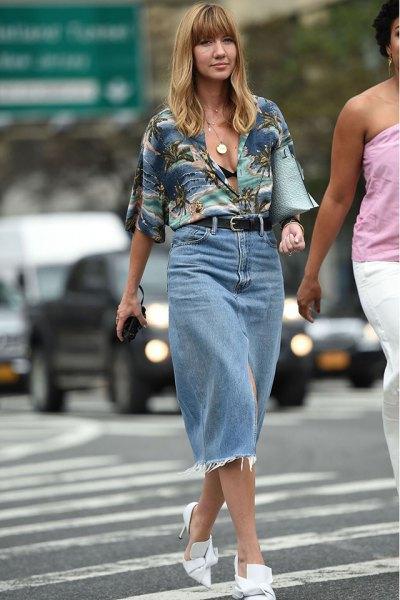 grey aloha shirt with high waisted denim midi straight but skirt