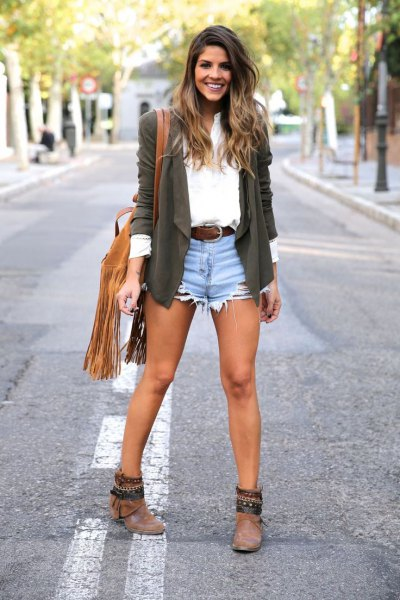 grey blazer with white shirt and blue jean shorts