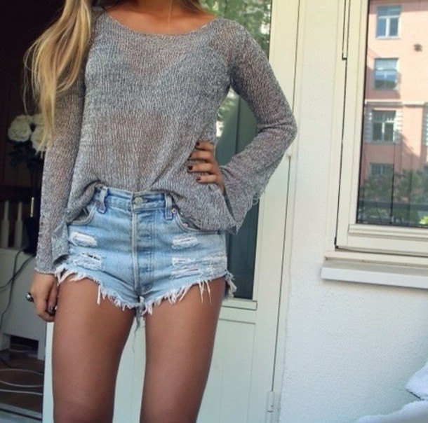 grey boat neck sweater with light blue high rise ripped denim shorts