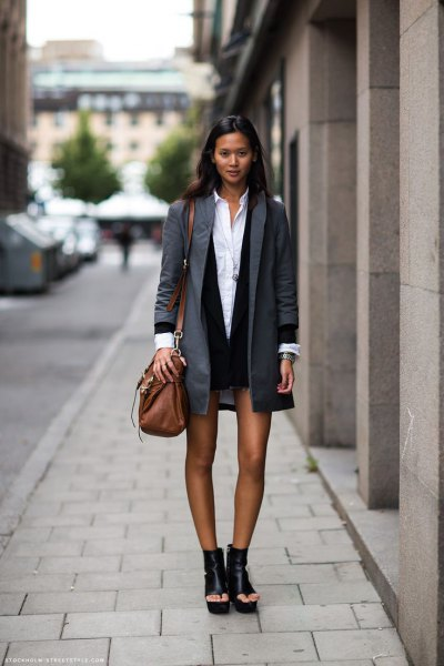 grey long blazer with black vest dress