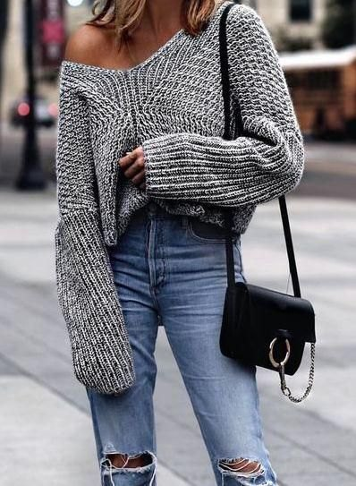 grey one shoulder oversized knit sweater with ripped boyfriend jeans