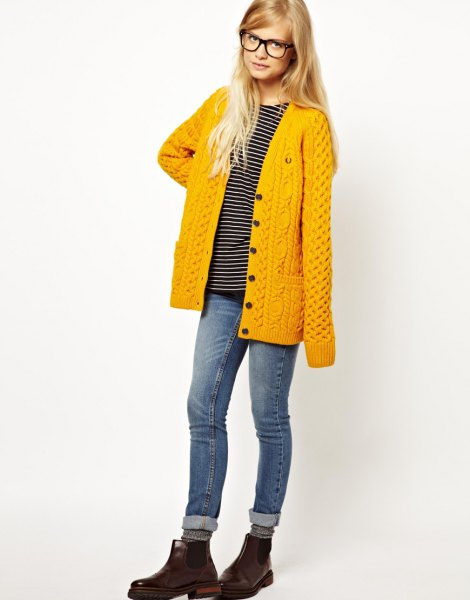 lemon yellow cable knit cardigan with striped tee and grey jeans