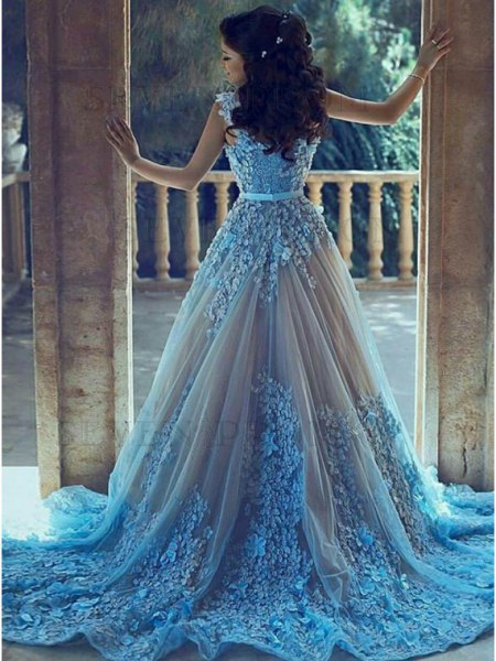 light blue and silver belted wedding gown