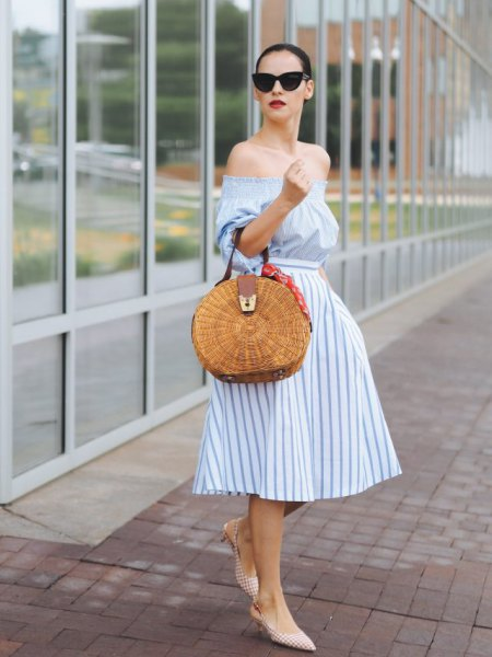 light blue and white striped fit and flare off the shoulder midi dress